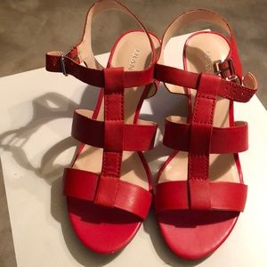 Never Worn Red Size 6.5 Franco Sarto Wedges
